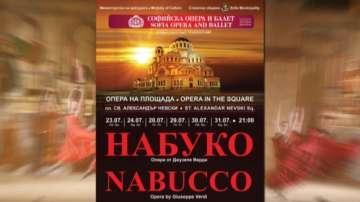 Внушителен декор за операта Набуко пред храма Св. Александър Невски