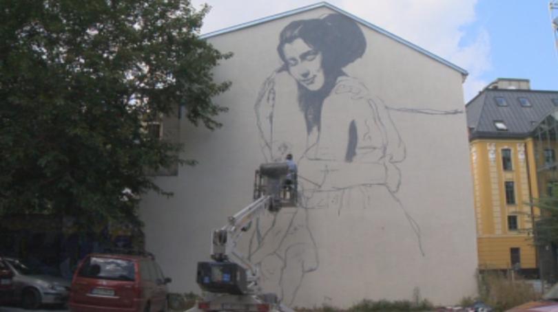Рисунка на един от най-известните улични художници Насимо преобрази фасадата
