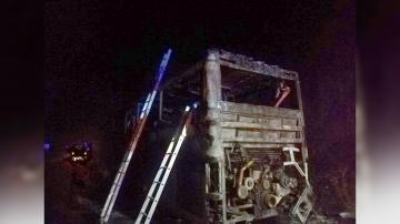 Автобус с 51 пътници се запали в движение край село Маринка