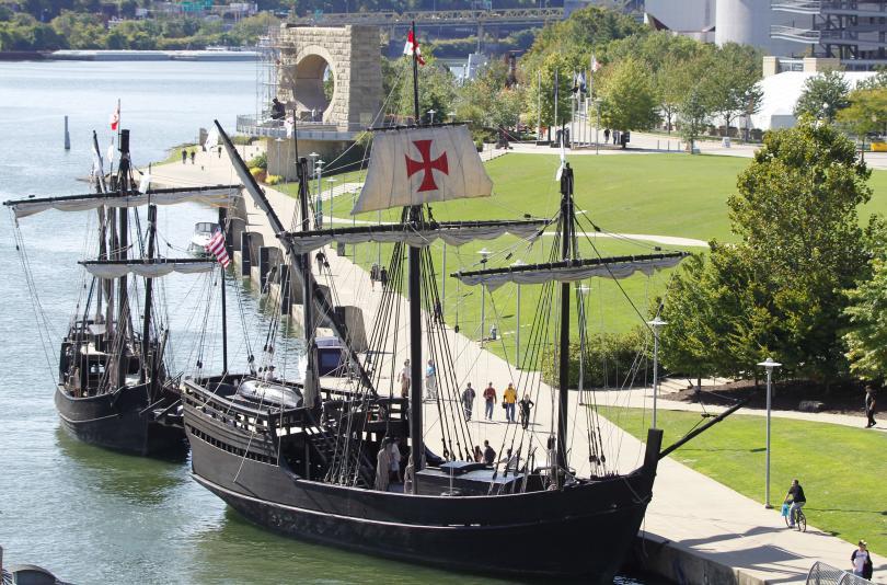 копия кораби христофор колумб плават бреговете щата йорк