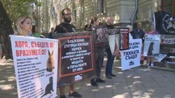 Граждани с демонстрация пред Парламента срещу добива на кожи от животни