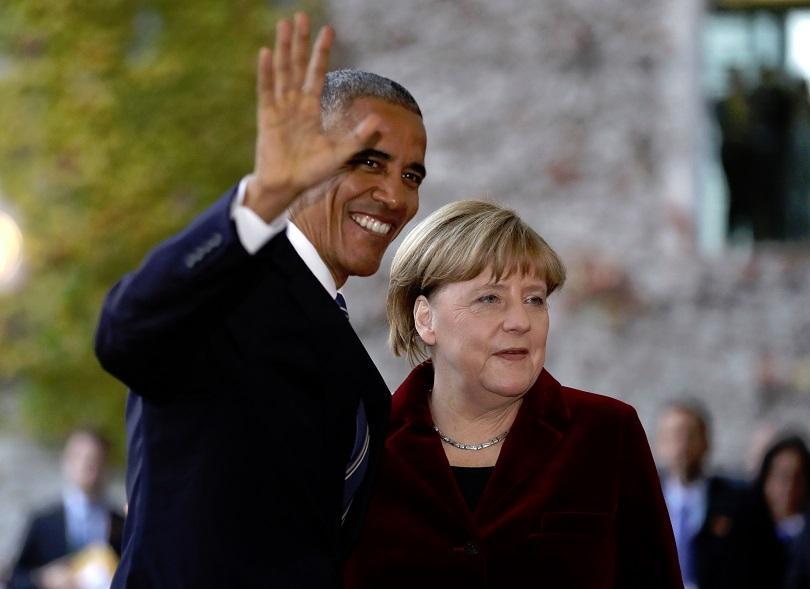 Барак Обама с германския канцлер Ангела Меркел