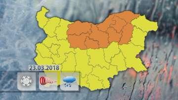 Оранжев код за обилни снеговалежи и силен вятър в 9 области на страната
