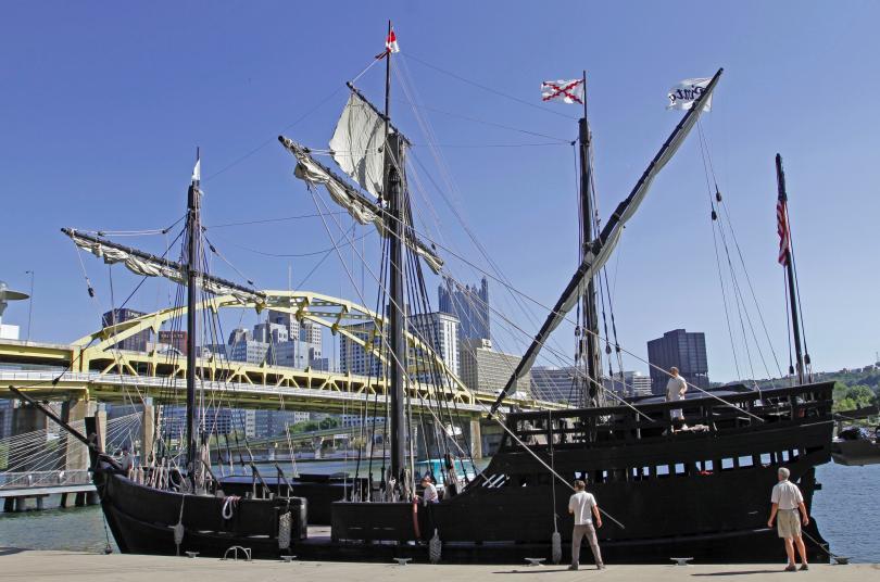снимка 1 Копия на кораби на Христофор Колумб плават край бреговете на щата Ню Йорк