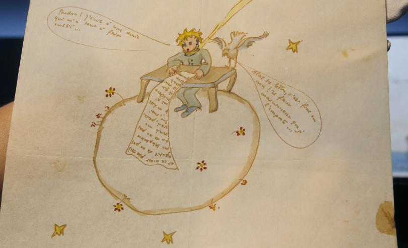 Любовно писмо от Антоан дьо Сент-Екзюпери с рисунка на Малкия