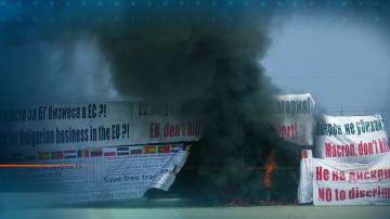 В знак на протест - превозвачи в Пловдив запалиха камион