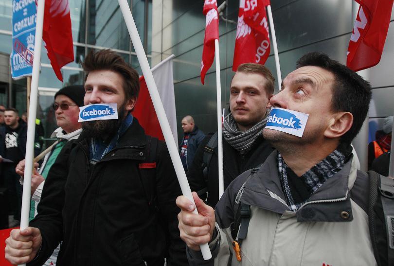 снимка 3 Протест на десни полски групировки срещу блокирането на профилите им във Фейсбук