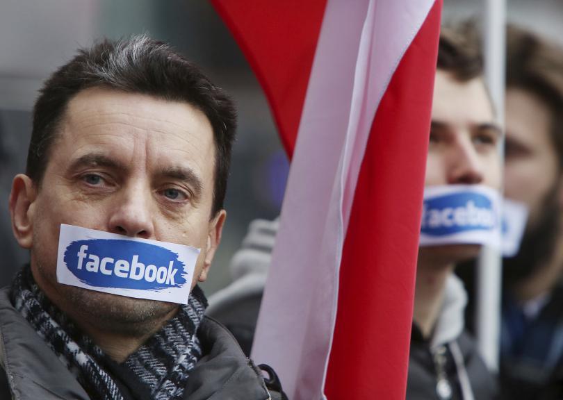 снимка 1 Протест на десни полски групировки срещу блокирането на профилите им във Фейсбук