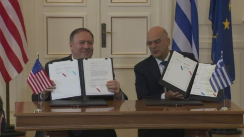 В Атина Американският държавен секретар Майк Помпео подписа споразумение за