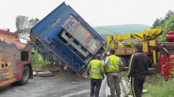 Камион, който превозва прасета, се обърна между Шумен и Карбонат