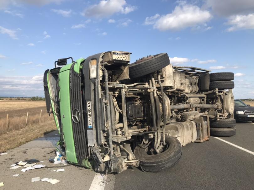 """Камион, транспортиращ прасета, се обърна на автомагистрала """"Тракия"""". Инцидентът е"""