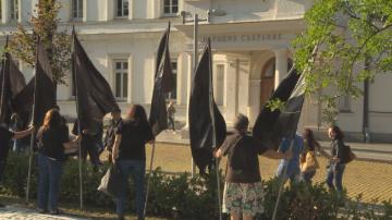 Протестиращите майки на деца с увреждания посрещнаха депутатите с черни знамена