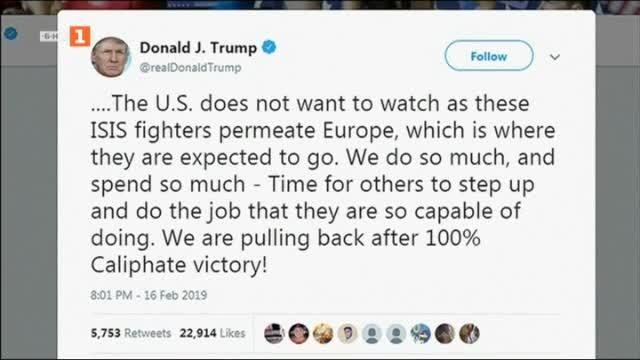 Американският президент Доналд Тръмп призова европейските съюзници да приемат обратно