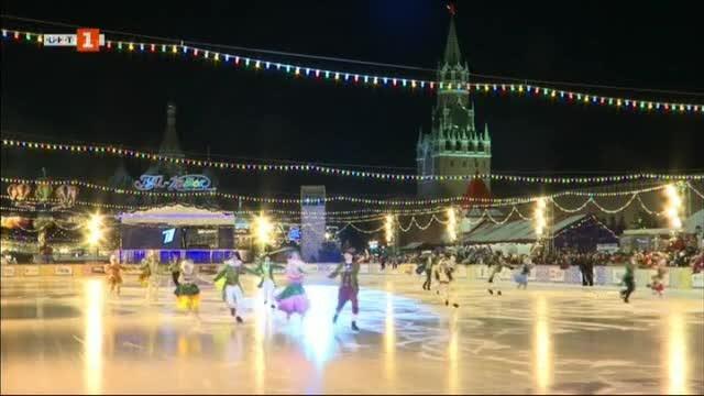Зимно настроение преди Рождество в Москва. На Червения площад по