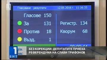 Без корекции: депутатите приеха референдума на Слави