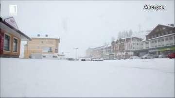 Сняг заваля в планински райони в Италия и Австрия