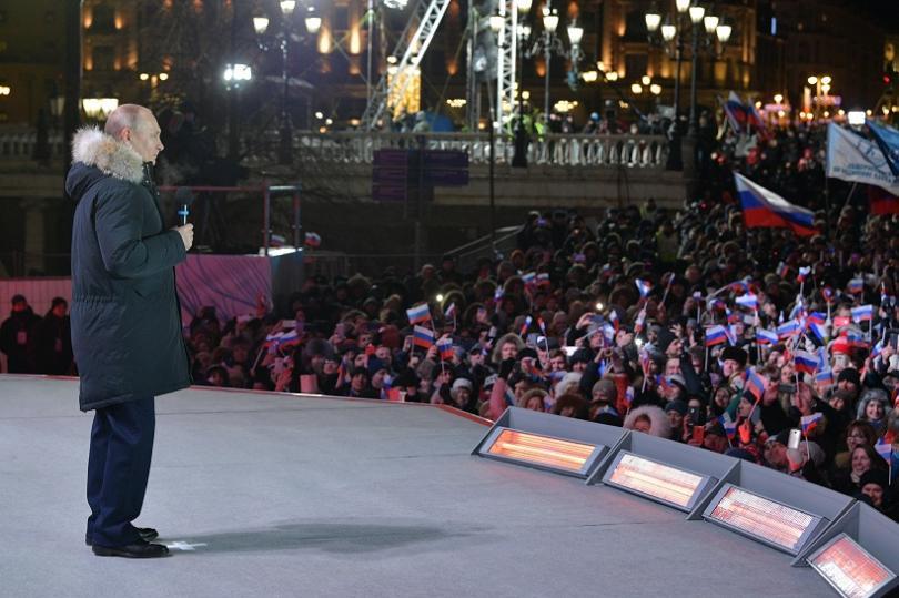 Владимир Путин на Манежния площад в изборната нощ
