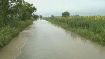 Хиляди декари земя край Садово са под вода заради скъсаната дига на река Чая