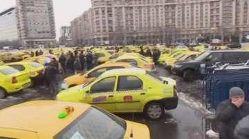 Протести на таксиметрови шофьори в Букурещ срещу Uber