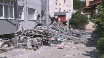 Рухна строително скеле в Благоевград, по чудо няма жертви