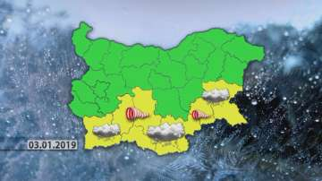 Жълт код за снеговалежи и силен вятър в 8 области от страната