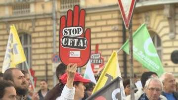 Протест пред НС срещу търговското споразумение с Канада