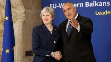 Бойко Борисов разговаря с Тереза Мей преди срещата ЕС-Западни Балкани