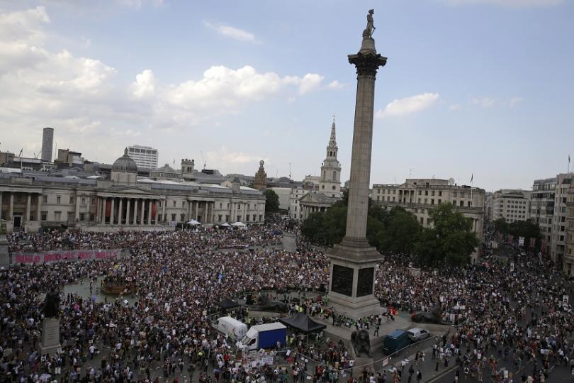 """Демонстрации имаше на """"Трафалгар скуеър"""" в центъра на Лондон"""
