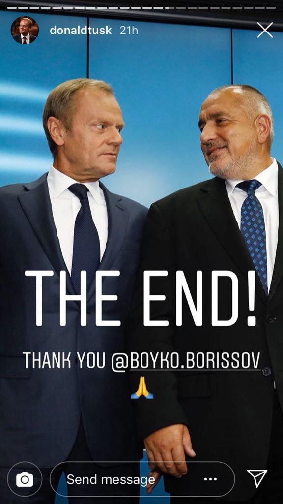 """А Доналд Туск пусна в Инстаграм тази снимка с надпис """"Край"""" и """"благодаря ти, Бойко""""."""