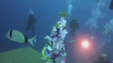 Подводна Коледа - водолази украсиха потънал кораб в Кипър