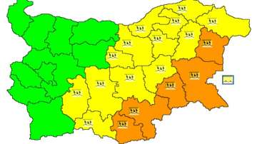 Оранжев и жълт код за валежи в няколко области у нас