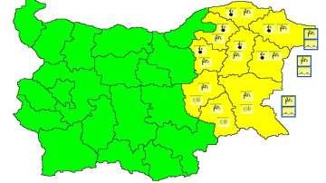 Жълт код за потенциално опасно време в 9 области в Източна България