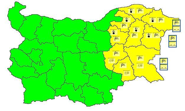 Жълт код за опасно време в цяла Източна България. Синоптиците