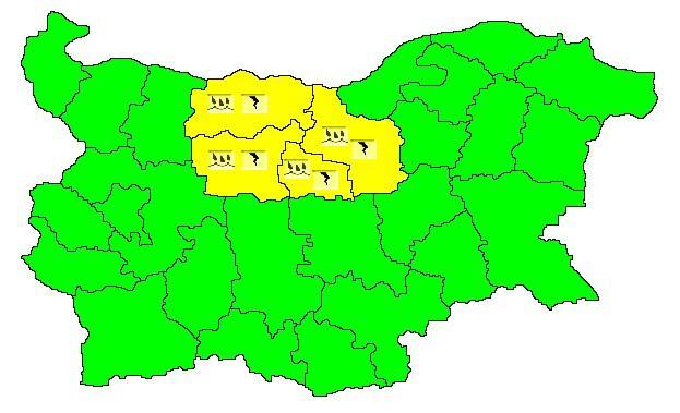 Жълт код за гръмотевични бури в 4 области в страната