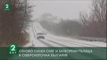 Отново силен сняг и затворени пътища в Североизточна България